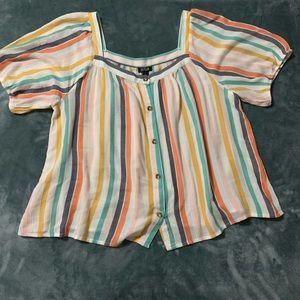A.N.A. Multi-Colored Striped button blouse